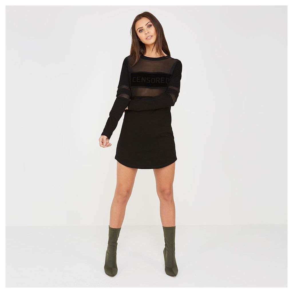 Maniere De Voir; Censored Long-Sleeved Dress - Black