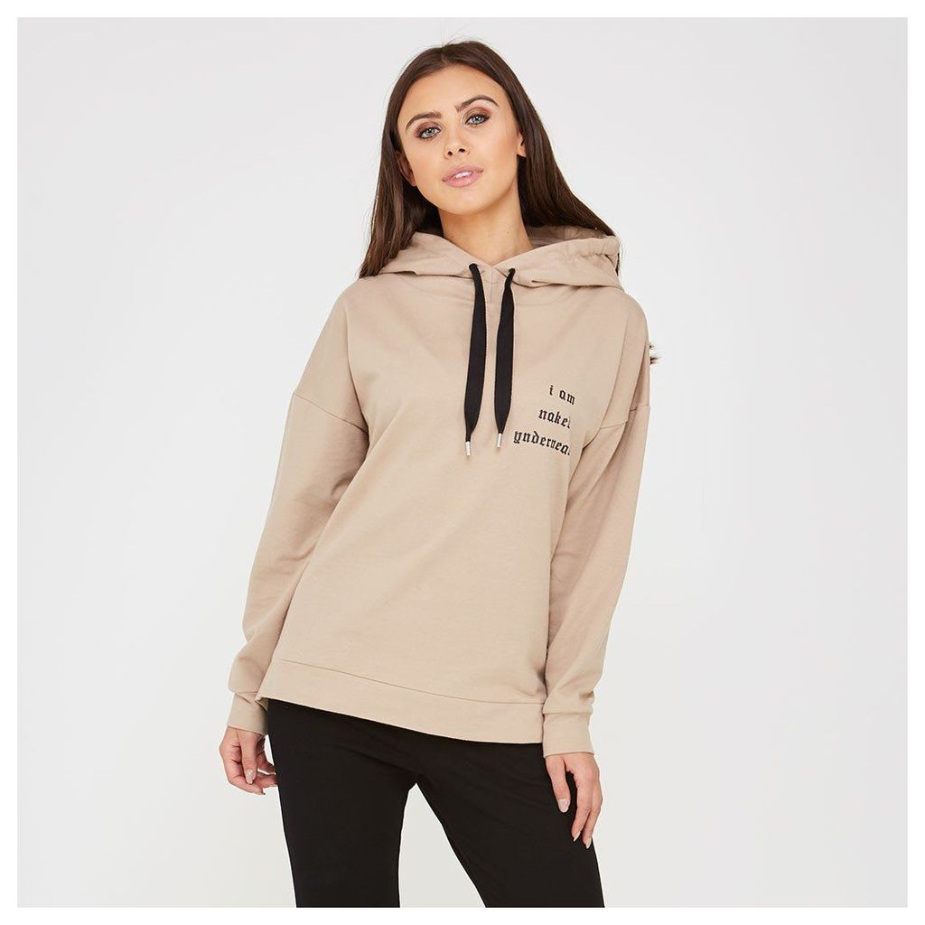 Maniere De Voir; 'I Am Naked Underneath' Slogan Hoodie - Beige