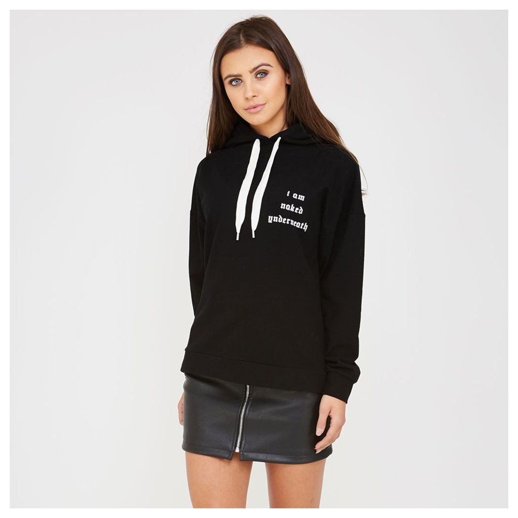 Maniere De Voir; 'I Am Naked Underneath' Slogan Hoodie - Black