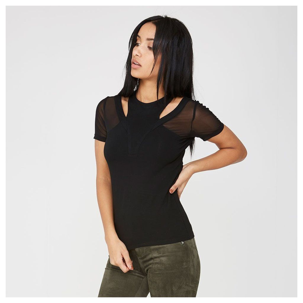 Maniere De Voir; Mesh Cut-Out Shoulder Top - Black