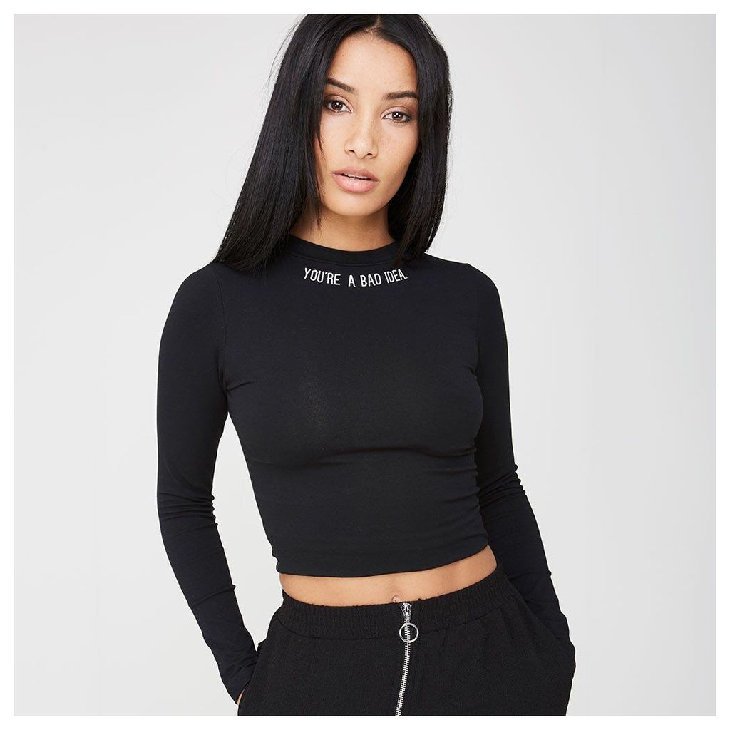 Maniere De Voir; 'You're A Bad Idea' Crop Top - Black