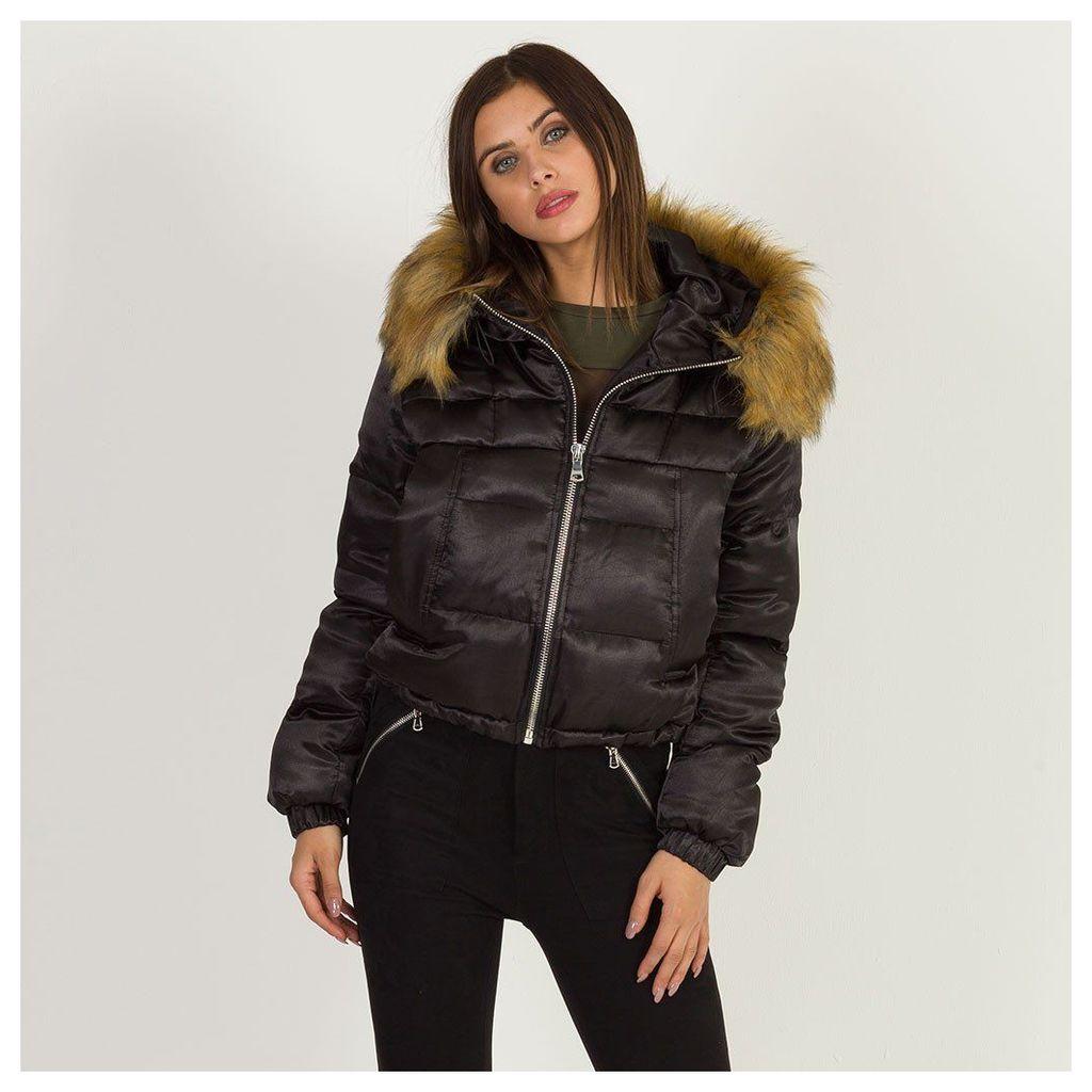Maniere De Voir; Satin Puffer Jacket - Black