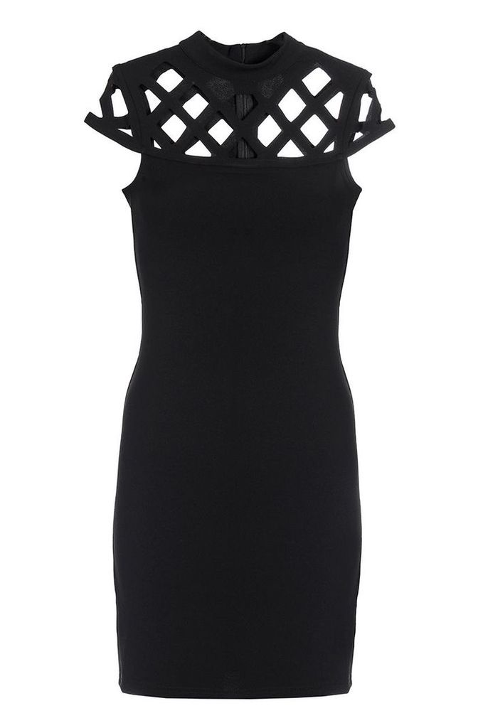 Quiz Black Laser Cut Turtle Neck Dress, Black