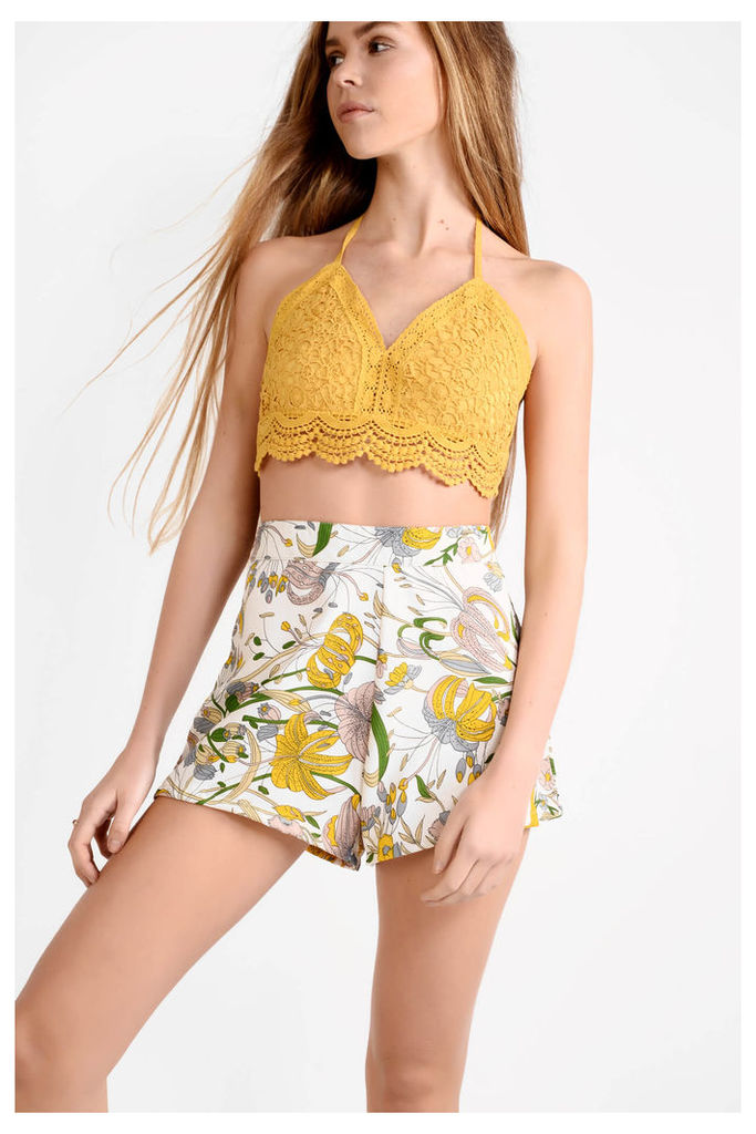 White Mix High Waisted Floral Print Shorts