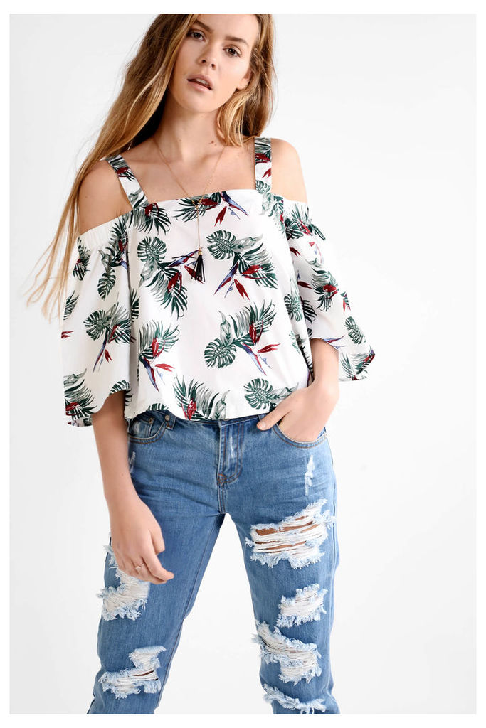 White Tropical Print Cold Shoulder Top