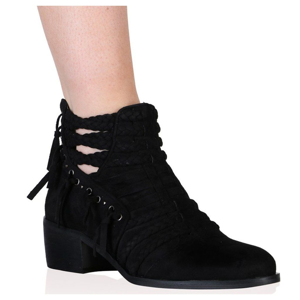 Luciana Ankle Boots in Black Faux Suede, Black