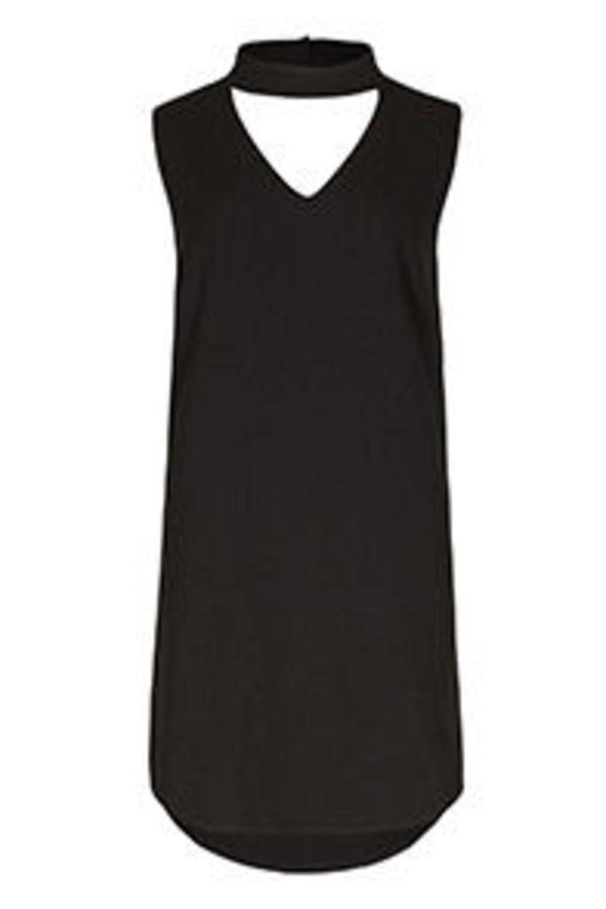 Black Choker Neck Shift Dress