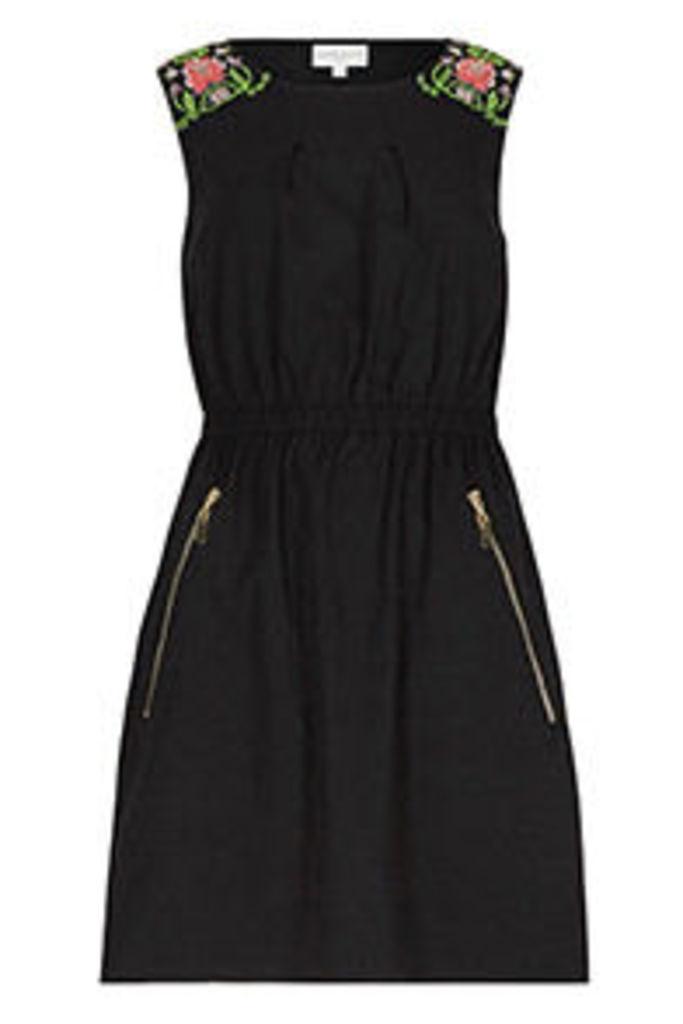 Black Floral Embroidered Shoulder Tea Dress