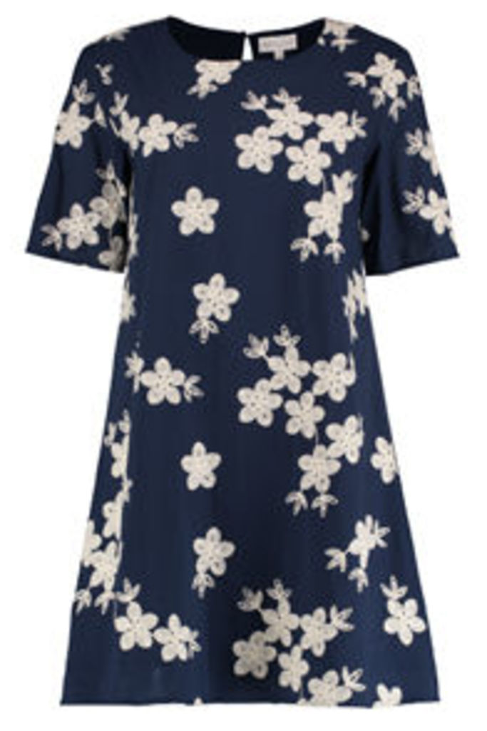 Navy & Cream Floral Embroidered Swing Dress