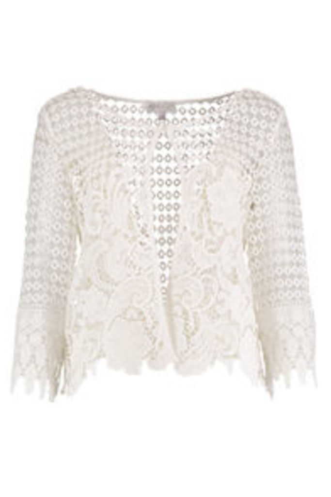White Floral Guipure Lace Cardigan