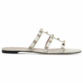 Valentino Rockstud leather slide sandals, Women's, Size: EUR 40 / 7 UK WOMEN, Winter wht