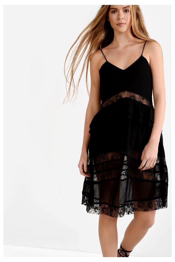 Black Lace Detail Camisole Dress
