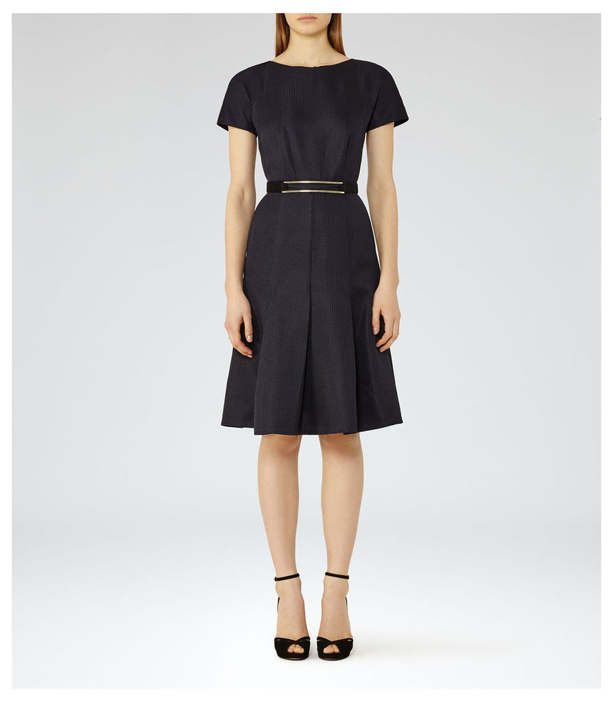 REISS Hallie - Womens Textured Fit And Flare Dress in Blue