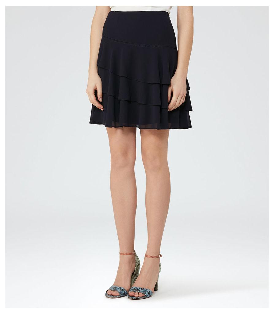 REISS Rufen - Womens Tiered Ruffle Skirt in Blue