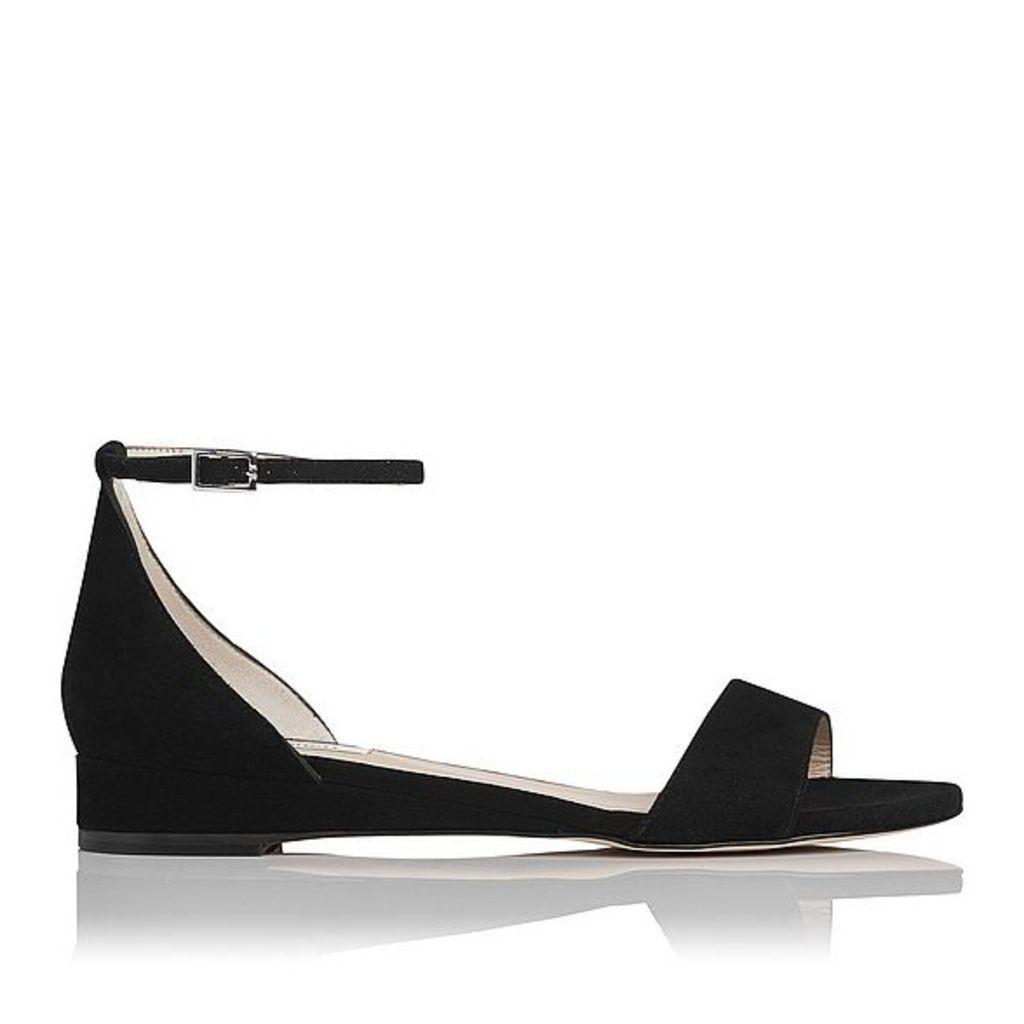 Cai Black Suede Flat Sandals