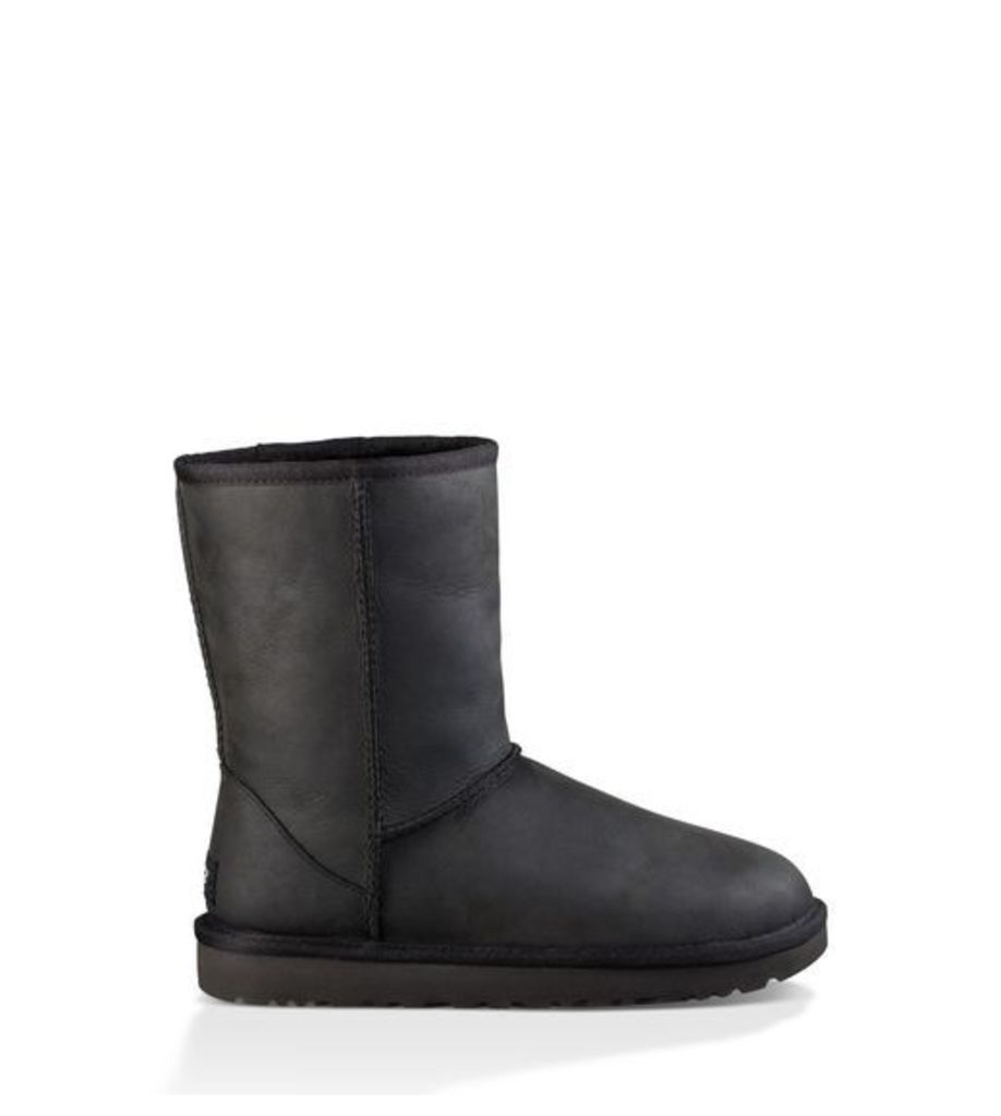 UGG Classic Short Leather Womens Classic Boots Black 4