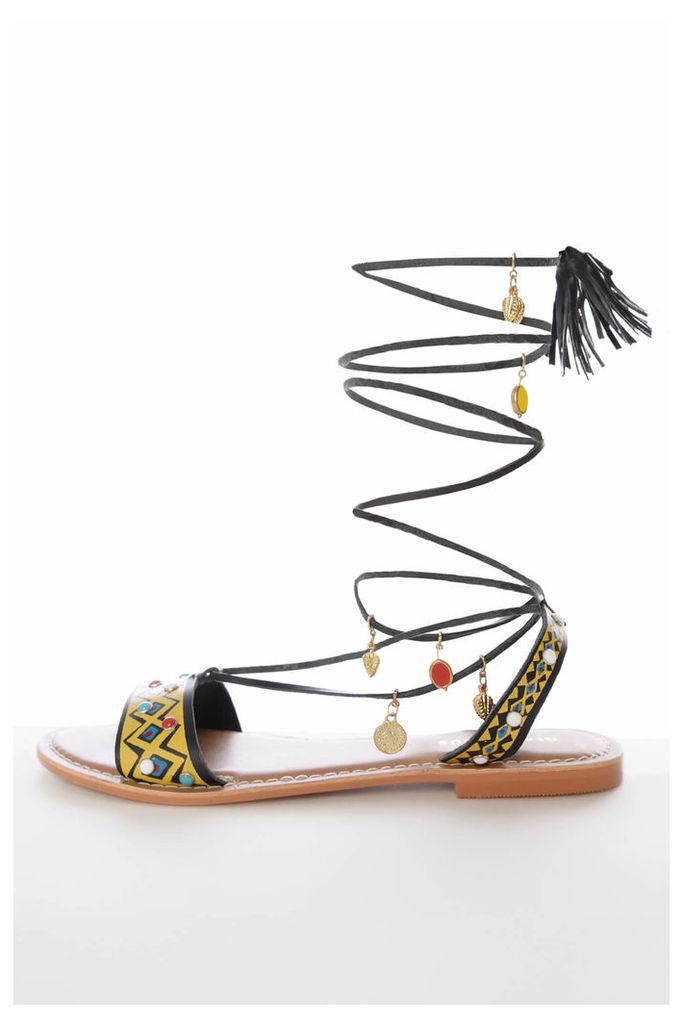 Black Multi Charm Gladiator Sandals