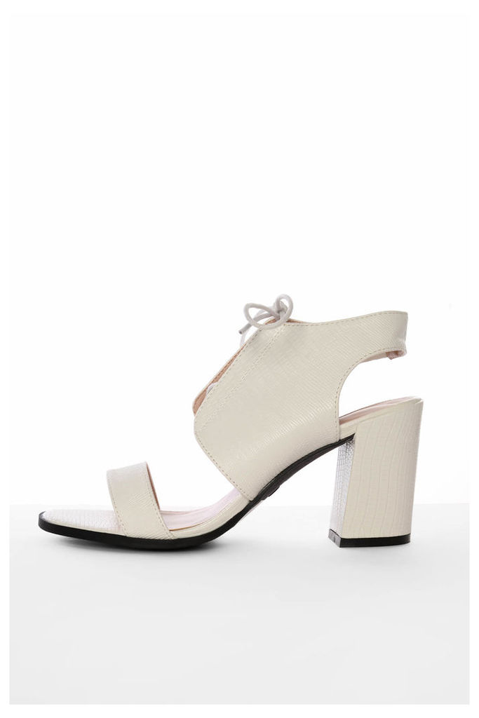Off White Snake Print Heeled Sandals