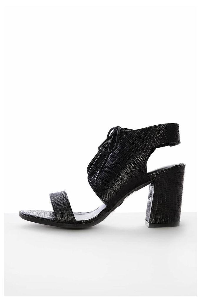 Black Snake Print Heeled Sandals