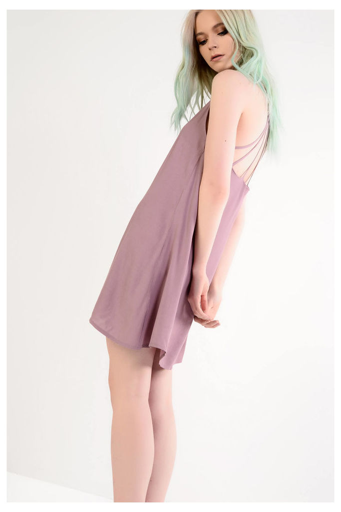Mauve Slip Dress With Strappy Back Detail
