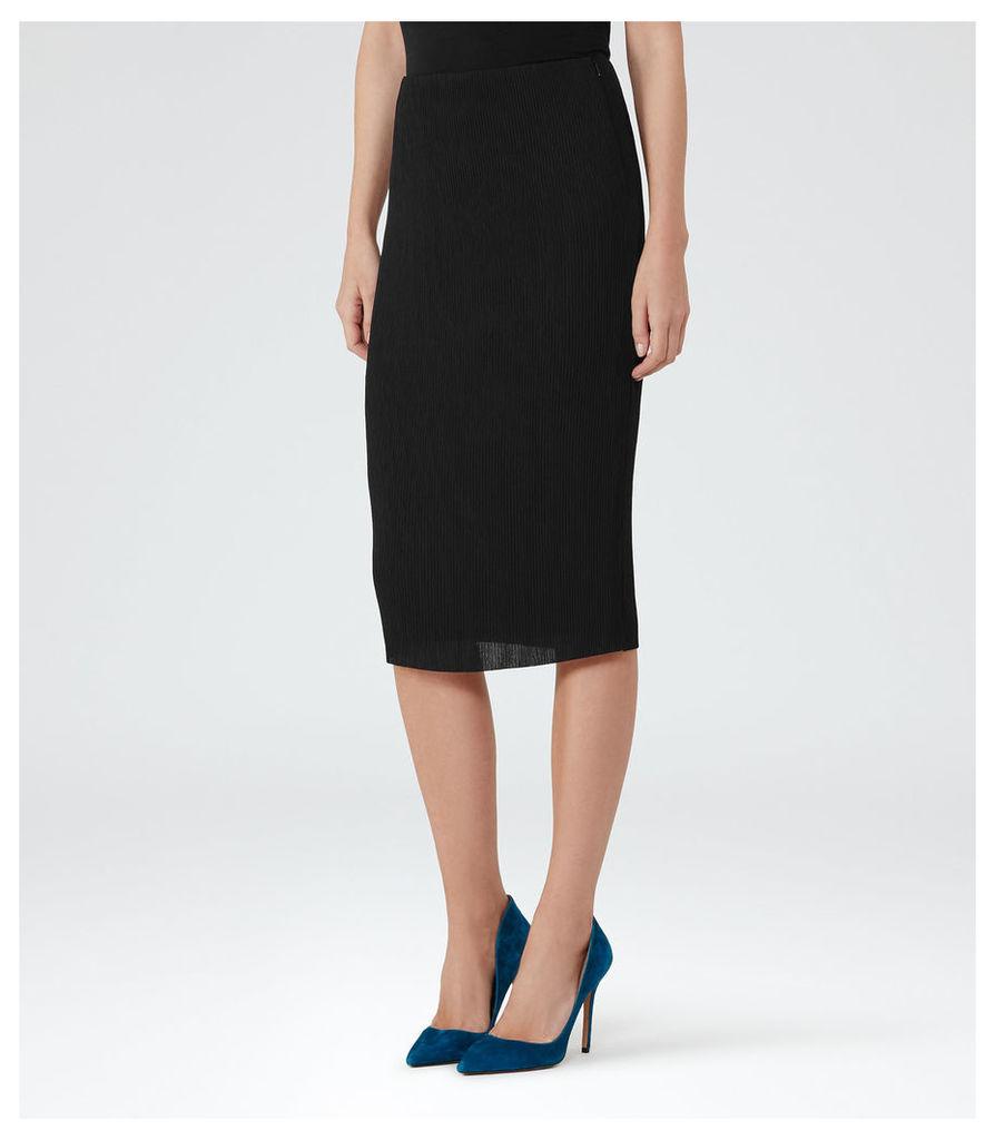 REISS Sabrina - Womens Plisse Midi Skirt in Black
