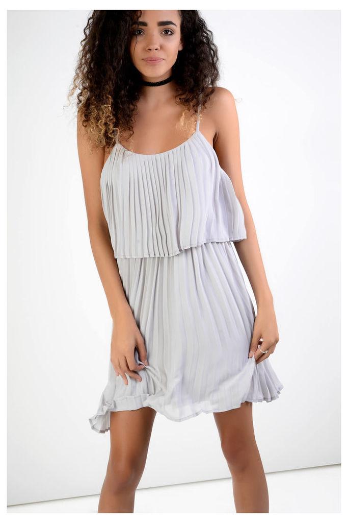 Silver Plisse Double Layer Dress