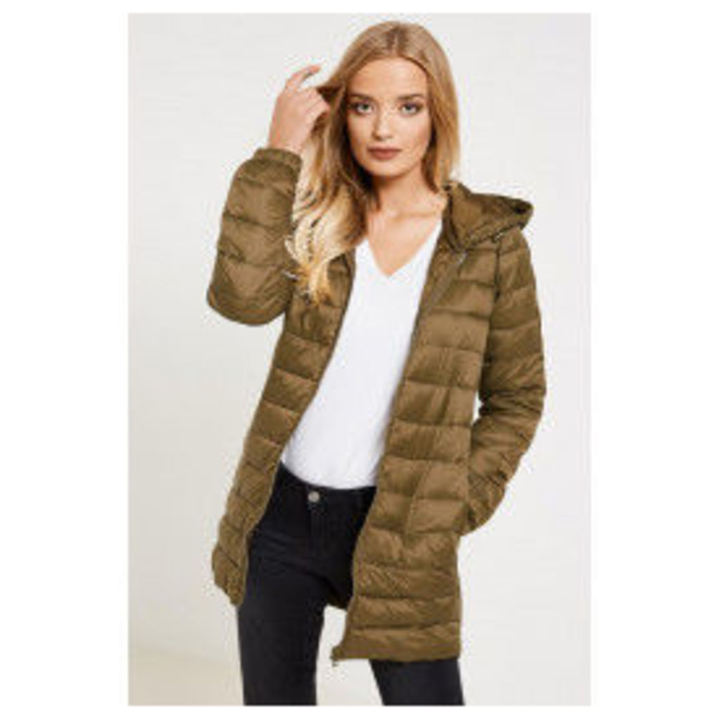 Jacqueline de Yong Mash Quilted Nylon Hooded Coat - Green