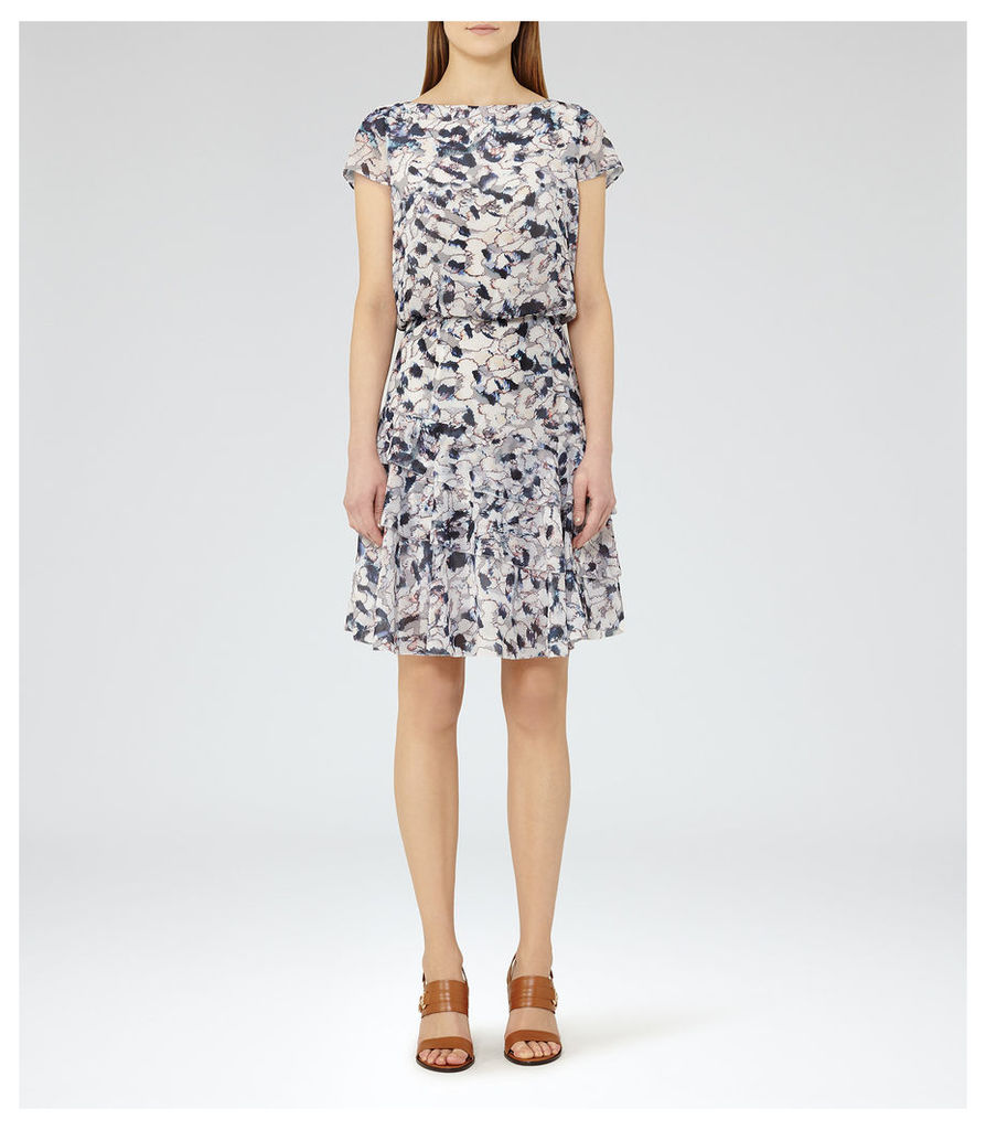 REISS Annah - Womens Printed Tiered Dress in Red