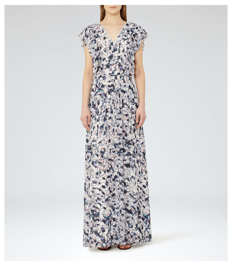 REISS Eli - Womens Printed Maxi Dress in Red
