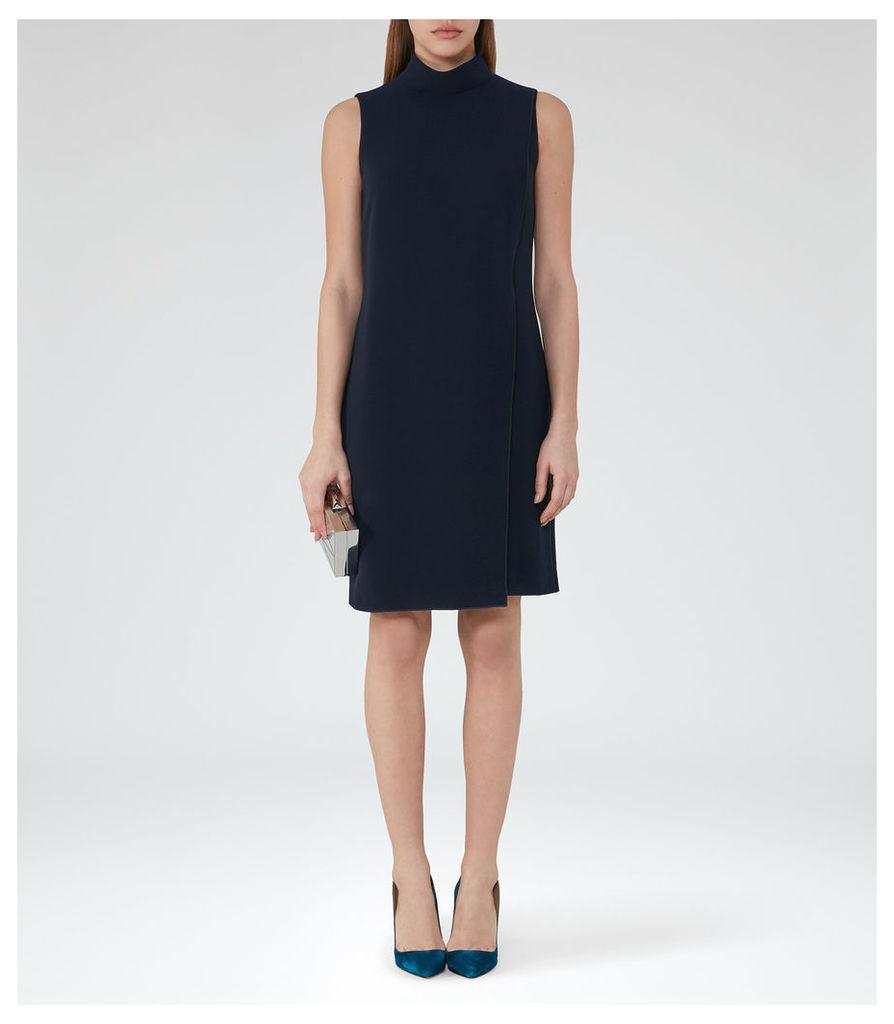 REISS Adie - Womens Roll-neck Shift Dress in Blue