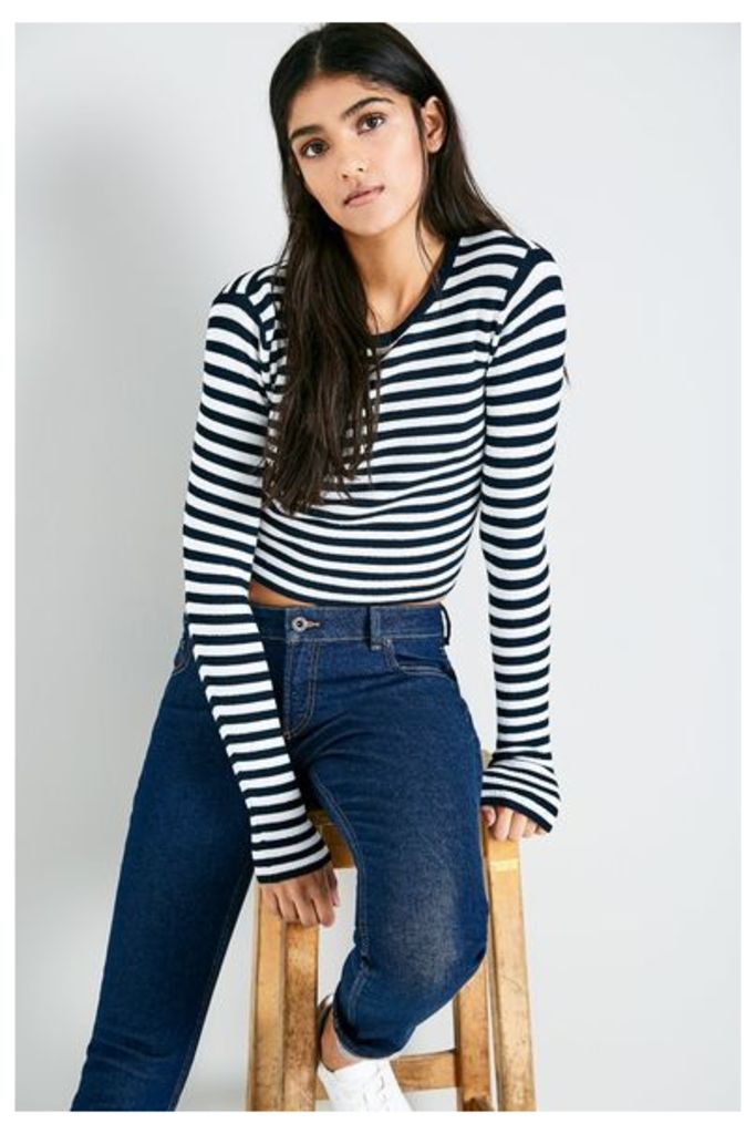 AULDHOUSE STRIPED CROPPED CREW NAVY