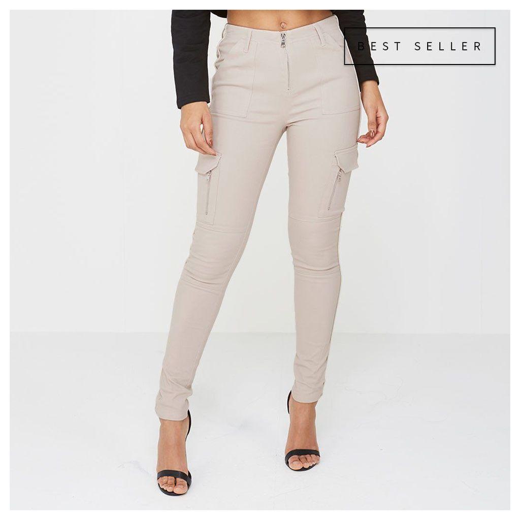 Maniere De Voir; Skinny Cargo Trouser - Beige