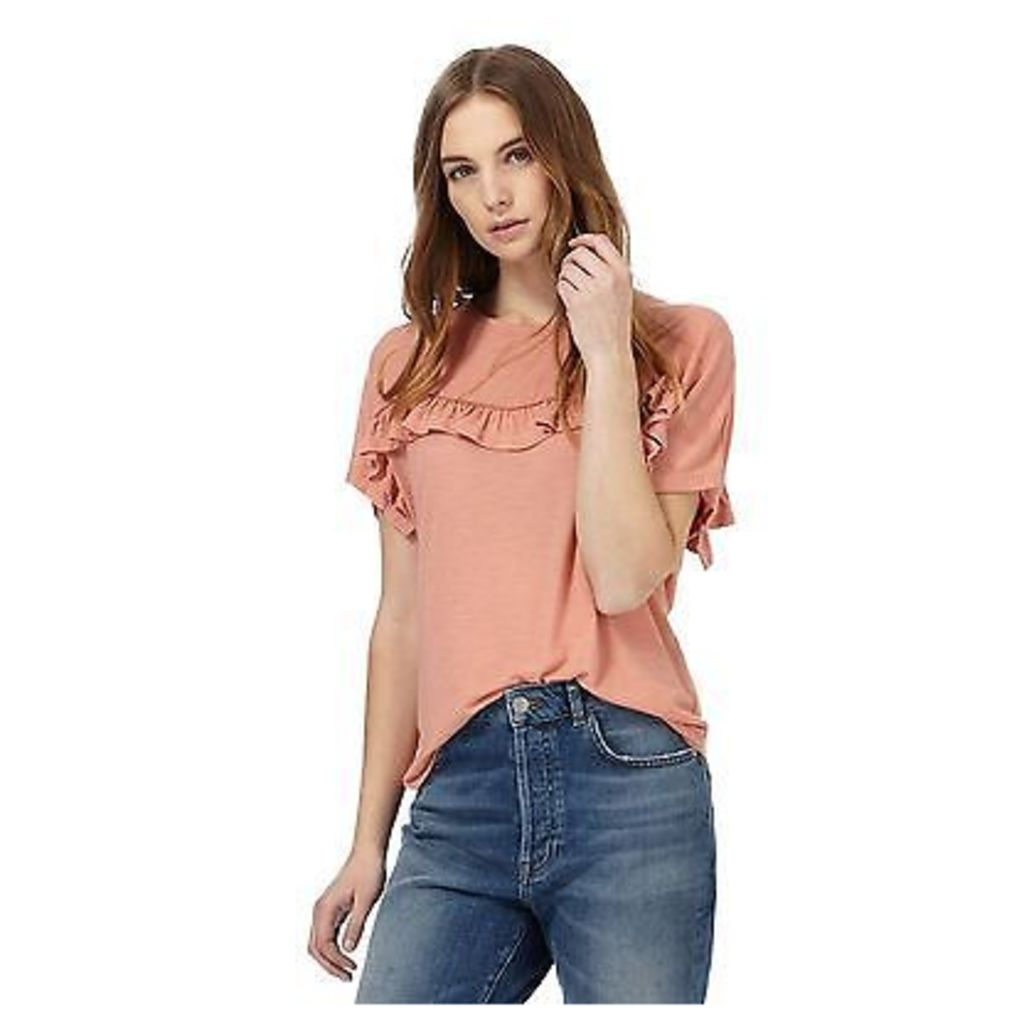 Nine By Savannah Miller Womens Light Orange Frilled Yoke Top From Debenhams