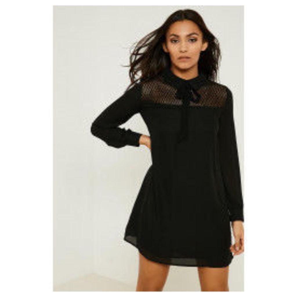Fashion Union Lace Insert Panel Dress - Black