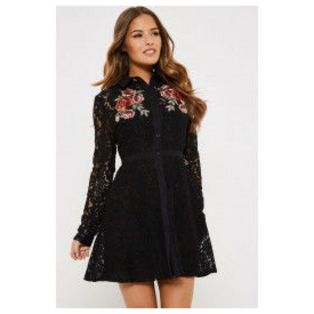 Fashion Union Barbella Embroidered Lace Dress - Black