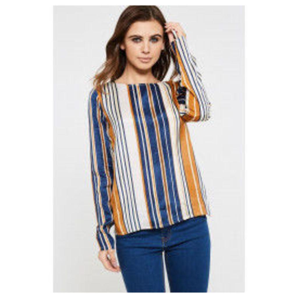 Vila Lavina Long Sleeve Stripe Top - Blue