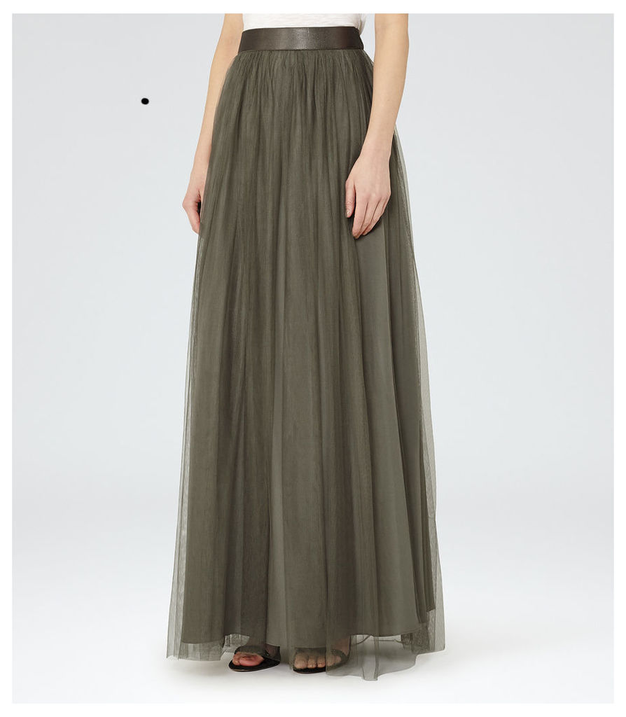 REISS Ramone - Womens Tulle Maxi Skirt in Grey