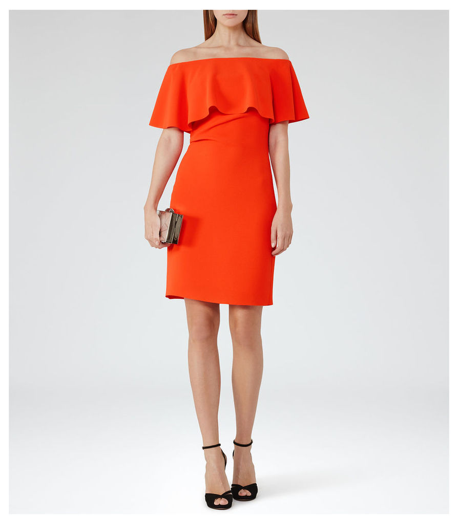 REISS Balm - Womens Off-the-shoulder Dress in Red