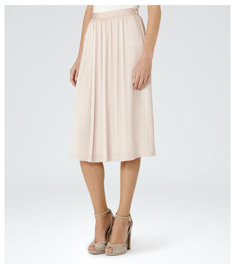 REISS Adalie - Womens Plisse Midi Skirt in Pink