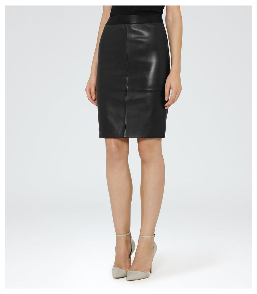 REISS Tami - Womens Leather Pencil Skirt in Black