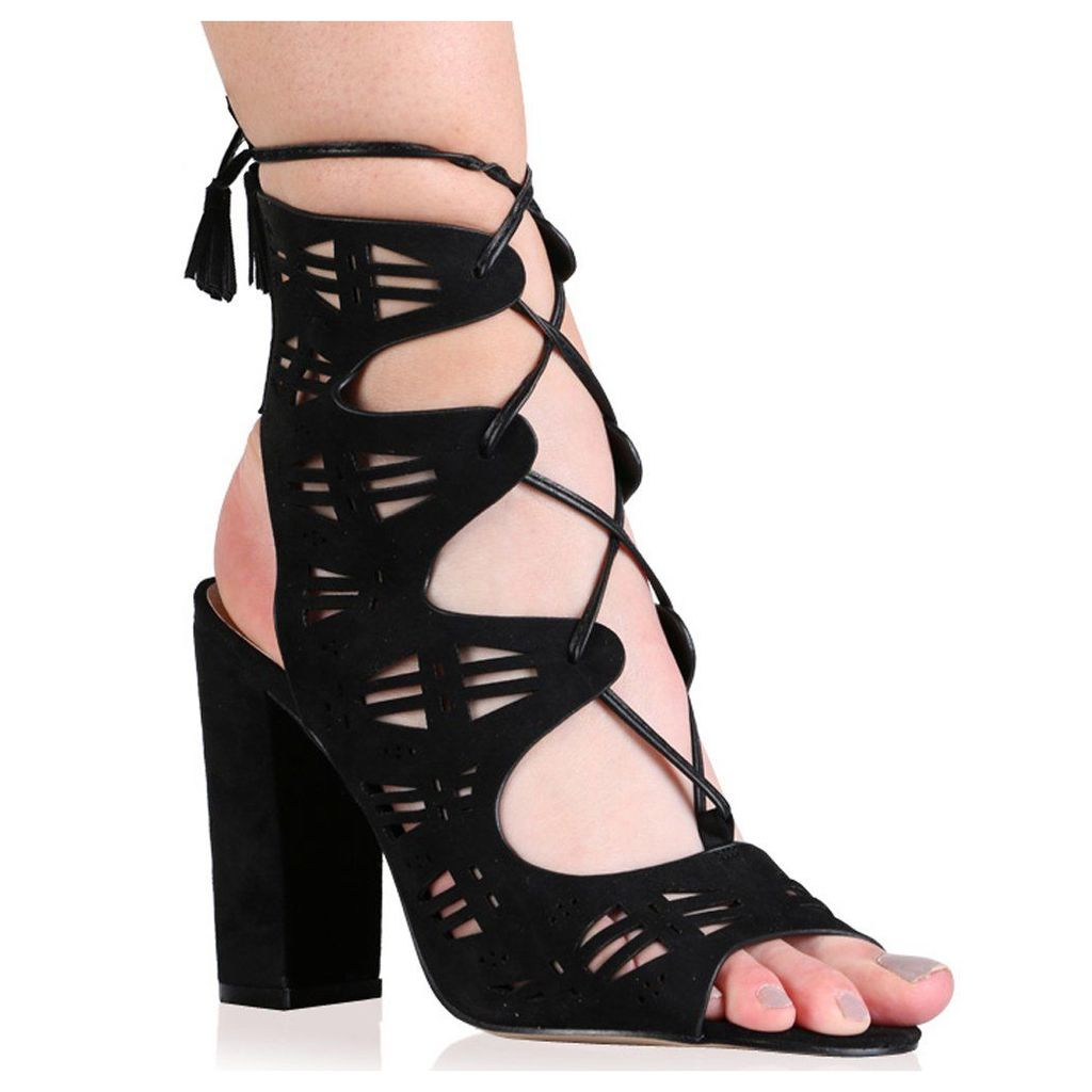Amanda High Heels in Black Faux Suede, Black