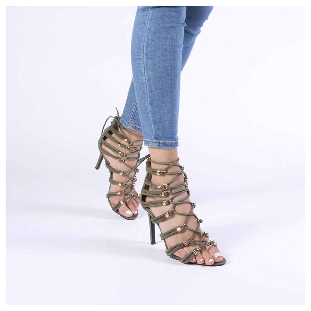 Caroline Stiletto Heels in Khaki Faux Suede, Green