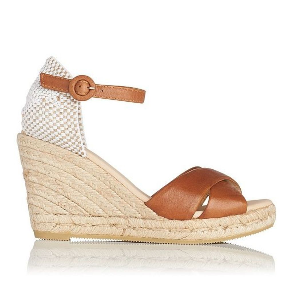 Angele Tan Leather Espadrille Wedge Sandals