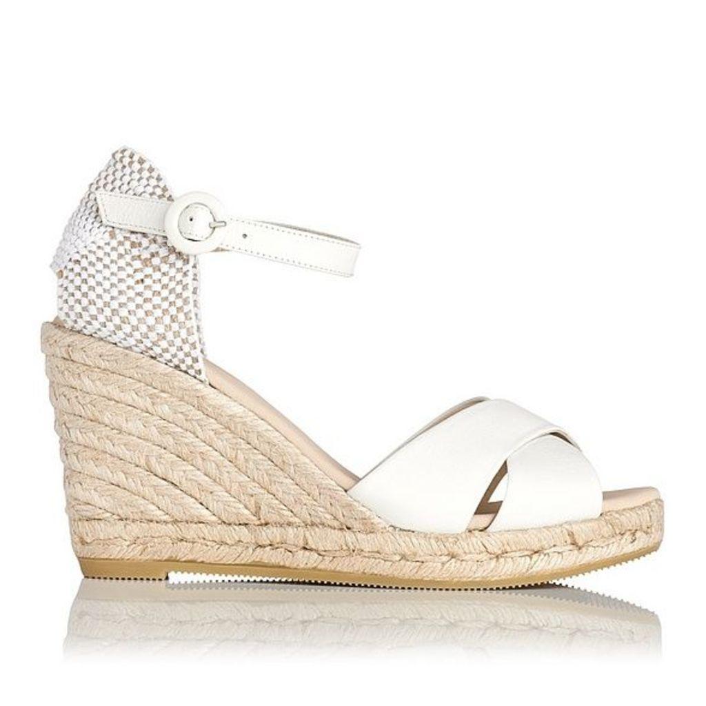 Angele Cream Leather Espadrille Wedge Sandals
