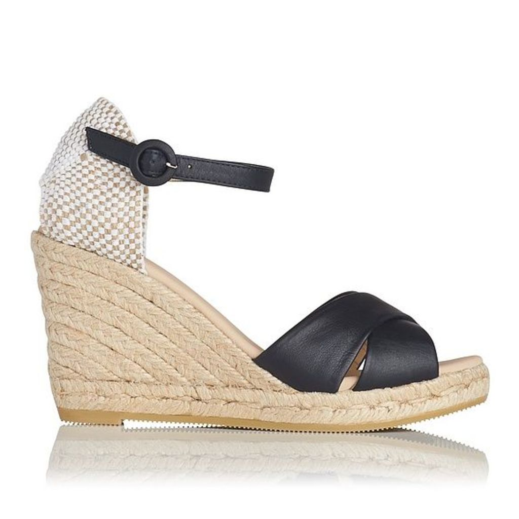 Angele Navy Leather Espadrille Wedge Sandals