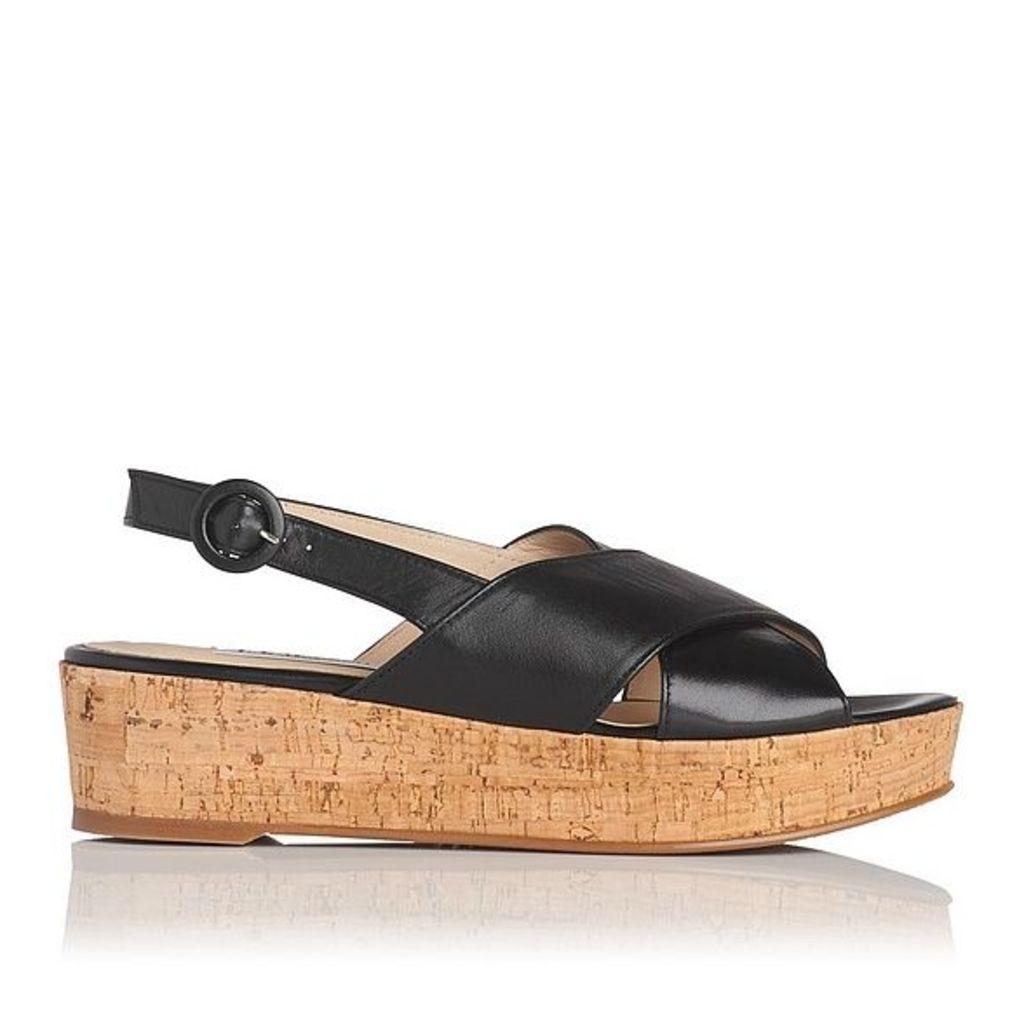 Klara Black Nappa Leather Casual Sandals