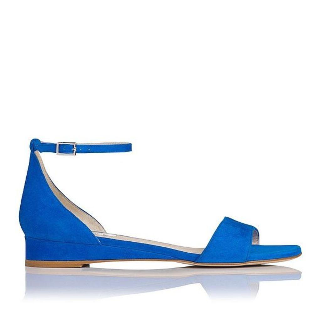Cai Blue Suede Flat Sandals
