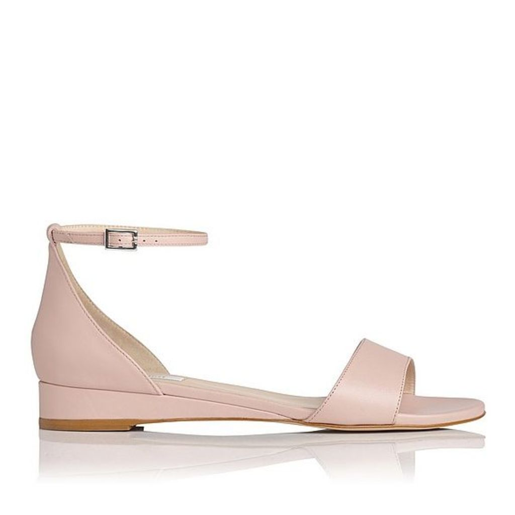 Cai Pink Leather Flat Sandals