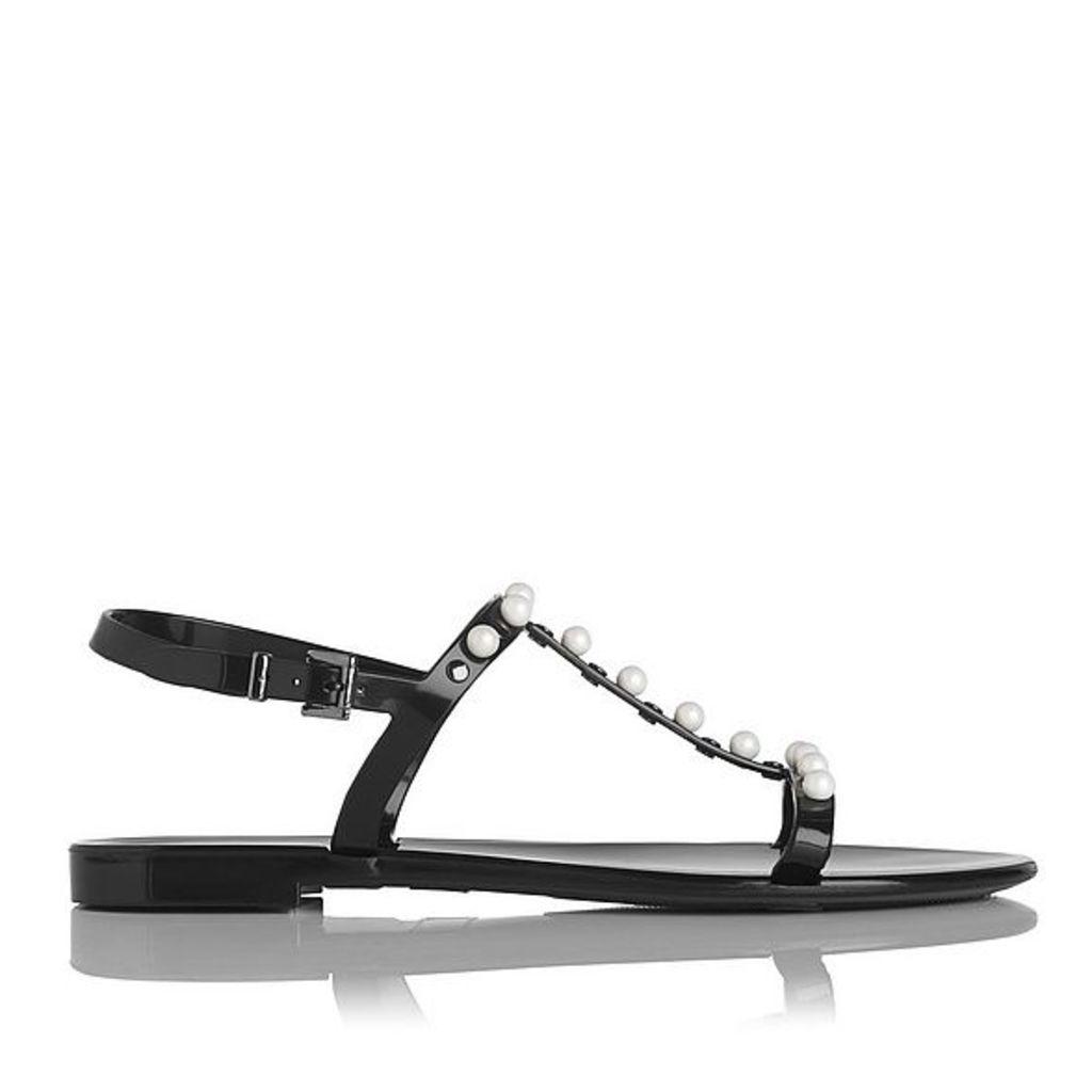 Freja Black Flat Sandals