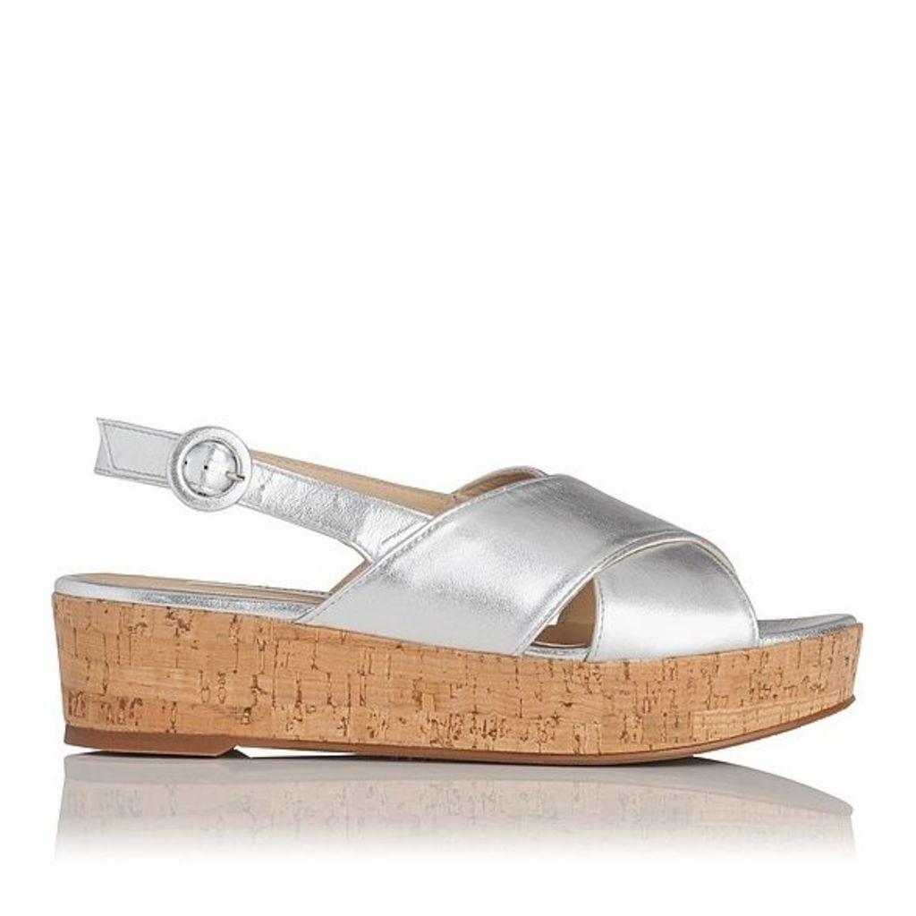 Klara Silver Metallic Nappa Leather Casual Sandals